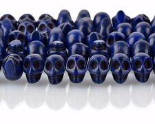 12mm DARK BLUE Howlite Skull Beads, Drilled Sideways, 40 beads, how0678