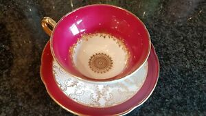 Royal Grafton Beautiful Dark Red & Gold Cabinet Cup & Saucer