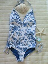 👙 New Seafolly 14AU/10US Love Bird Deep V Maillot One Piece White Blue A/B/C