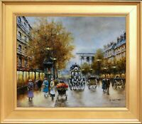 J Gaston Signed Oil On Canvas, Custom Made Frame, Paris City Cityscape / Scenery