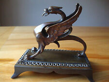 Vintage Antique Bronze Red Eye Dragon/Griffin Statue mounted on Plynth