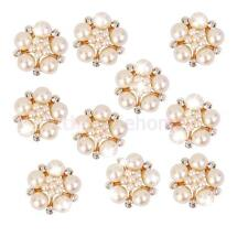 10 Pearl Flower Rhinestone Buttons Flat Back Craft DIY Embellishments 25MM