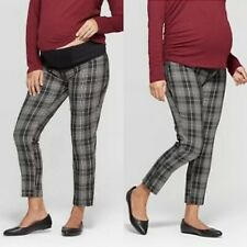 Isabel Maternity Ingrid & Isabel Plaid Crossover Panel Ankle Pants Black Size 12