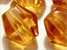 Czech vintage bicone faceted topaz glass beads. Lot (100) 5mm