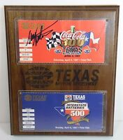 1997 MARK MARTIN TEXAS MOTOR SPEEDWAY 1ST YEAR PLAQUE SIGNED AUTOGRAPHED TICKET