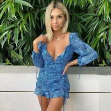 Oh Polly Style Bodycon Puff Sleeve Mini Dress Blue Leopard Print SIZE 8- 10