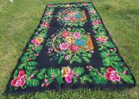 Vtg Bessarabian Kilim Flowers Rug Area Wool Ukraine 3,7x1,65m Freshly cleaned