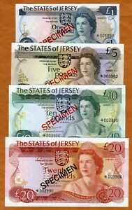 Specimen Set, Jersey, 1-5-10-20 Pounds 1975,  P-CS1, With C/O 002317 UNC