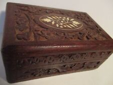 "Original Vintage Wooden CARVED STASH BOX Hinged 6X4X2.5""  Inlaid Bone 263"