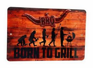 """BBQ BORN to GRILL Evolution of Man to the Grill Novelty 12"""" x 8"""" Aluminum Sign"""