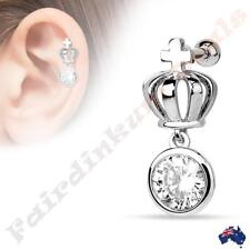 Silver Ion Plated Crown with Round Clear CZ Dangle Tragus/Cartilage Stud