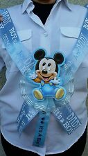 1 Baby Shower ~MOM TO BE SASH with MICKEY MOUSE~ Blue/boy,Ribbon,favors,niño,Saf