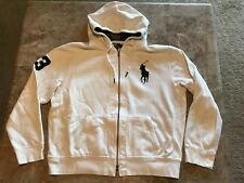 Polo Ralph Lauren #3 Embroidered Big Pony Full Zip White Hoodie Adult Size XL