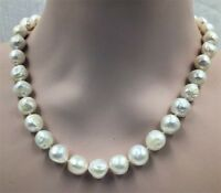 12-14MM HUGE baroque south sea pearl necklace 18K GOLD 18inch knot White