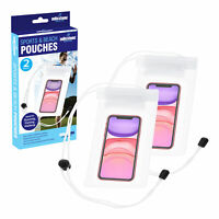 Set of 2 Waterproof Pouches White/Transparent Protect Cameras iPod Wallets Phone
