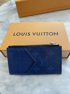Louis Vuitton Taigarama Blue Card And Coin Holder Wallet With Box