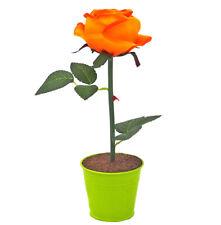 Déco LED Rose Orange Vert Illuminé Batterie Pot de Fleurs Plantes Artificielles