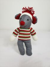 """New listing Sock Monkey Mouse 9"""" Plush Gray Holiday Hat Sweater Red Green Stuffed Toy"""
