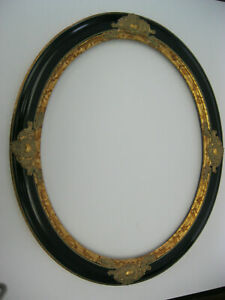 """Rare Oval Picture frame  Black and Gold 22x28 moulding 2 1/2 """" wide"""