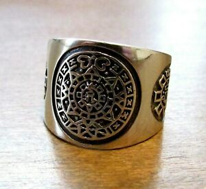 Handcrafted Solid 925 Sterling Silver Men's AZTEC / MAYAN CALENDAR Ring