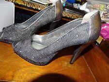 Style&co  Sparkle Peep Toe Pump Size 7M Naveahpwt Pewter Stilettos Bridal NIB