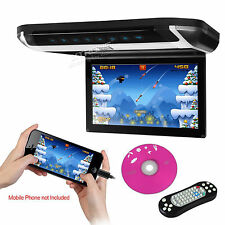 "Black Ultra-Thin 10"" HD Flip Down Overhead Roof Car Monitor SD Games DVD Player"