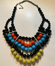 Handmade Necklace Large Giant Faux Pearl Black Red Blue Green Vintage