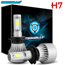 IRONWALL 1020W 153000LM H7 LED headlight Kit Light Bulbs 6000K White CREE Pair