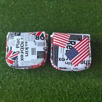 Golf Square Putter Cover USA UK Flag Magnetic Headcover for Odyssey Scotty PING