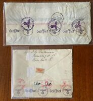 WW2 1941 Netherlands / German Censor Passed To US Covers - Geoffnet Label - Rare