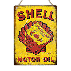SHELL MOTOR OIL Retro Vintage Metal Tin Wall Sign Plaque Garage Man Cave Shed