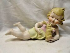 Antique Germany Piano Baby Blonde Art Noveau Holding Bunny Rabbit Figurine