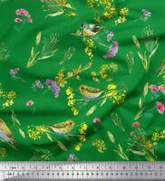 Soimoi Fabric Leaves,Floral & Leafbird Bird Fabric Prints By Yard - BRD-35D