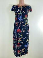 NEXT black floral print off the shoulder bardot pencil wiggle midi dress size 10