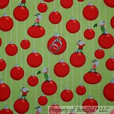 BonEful Fabric FQ Cotton Quilt Green Red Gray Mouse Xmas Tree Ornament Stripe SM