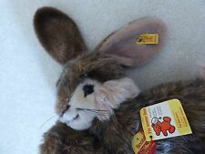"""Steiff Snobby Rabbit, Lying 13"""" with tags and button in ear"""
