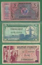 Three 5 Cent Military Payment Certificates