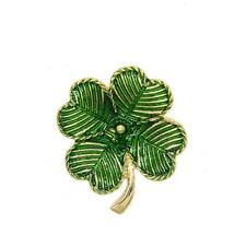 Beautiful Gold Plated Green Enaml Clover Brooch Pin For Gift Party