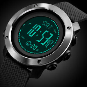 Mens Digital Army Sport Watch Waterproof Thermometer Altimeter Barometer Compass