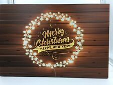 'MERRY CHRISTMAS' LED Twinkling LIGHT UP Wall Art CANVAS PICTURE Xmas Decoration