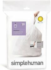 simplehuman code E Custom Fit Drawstring Trash Bags, 20 Liter, 20 Count Box