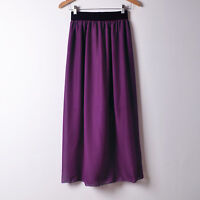 Purple Women Double Layer Chiffon Pleated Retro Maxi Dress Elastic Waist Skirt