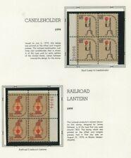 USA 1979 MNH PLATE BLOCKS OF (4) CANDLEHOLDER & RAILROAD LANTERN