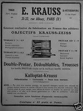 PUBLICITÉ 1909 KRAUSS DOUBLE PROTAR OBJECTIF KRAUSS ZEISS KALLOPTAT -ADVERTISING