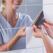9PCS/Set Square Mirror Tile Self Adhesive Wall Sticker Home Bathroom Decor Stick
