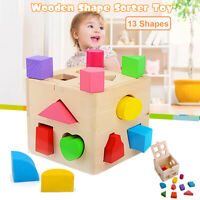 Wood Toys Shape Sorter Puzzle Box Baby Toddler Buildings Educational Xmas Gift