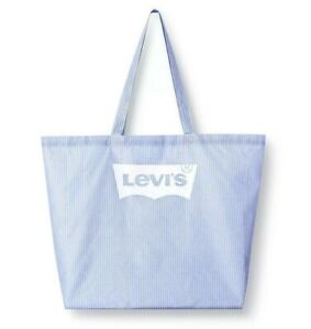 Levi's X Americana Tote Reusable Shopping Bag Striped White & Light Blue - NEW