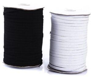 White & Black Flat Elastic 5mm 6mm 10mm 18mm 25mm UK Masks, Sewing & Dressmaking