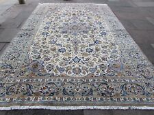 Old Traditional Hand Made Persian Oriental Beige White Wool Carpet 385x259cm