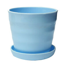 Plastic Flower Planter Round Pots + Tray Home Office Garden Decor Blue T1